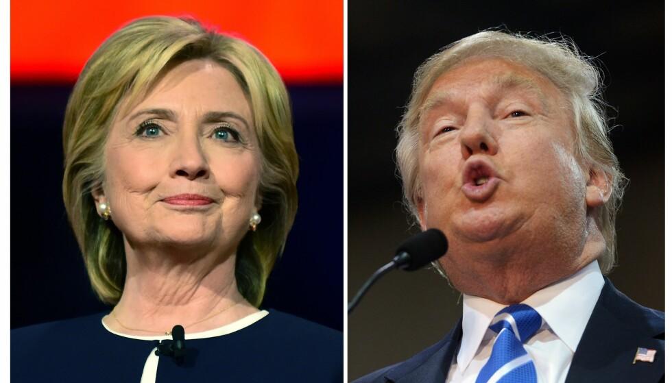 PRESIDENTKANDIDATENE: Hillary Clinton og Donald Trump. Foto: AFP / Scanpix