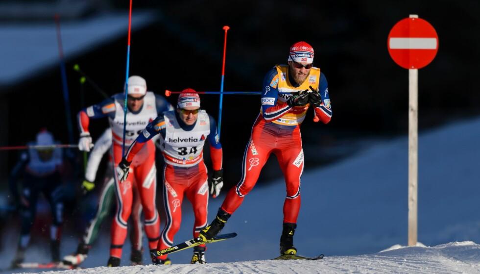 IKKE PLASS TIL ANDRE: Norge dominerer langrenn totalt. FOTO: AFP / Fabrice Coffrini.