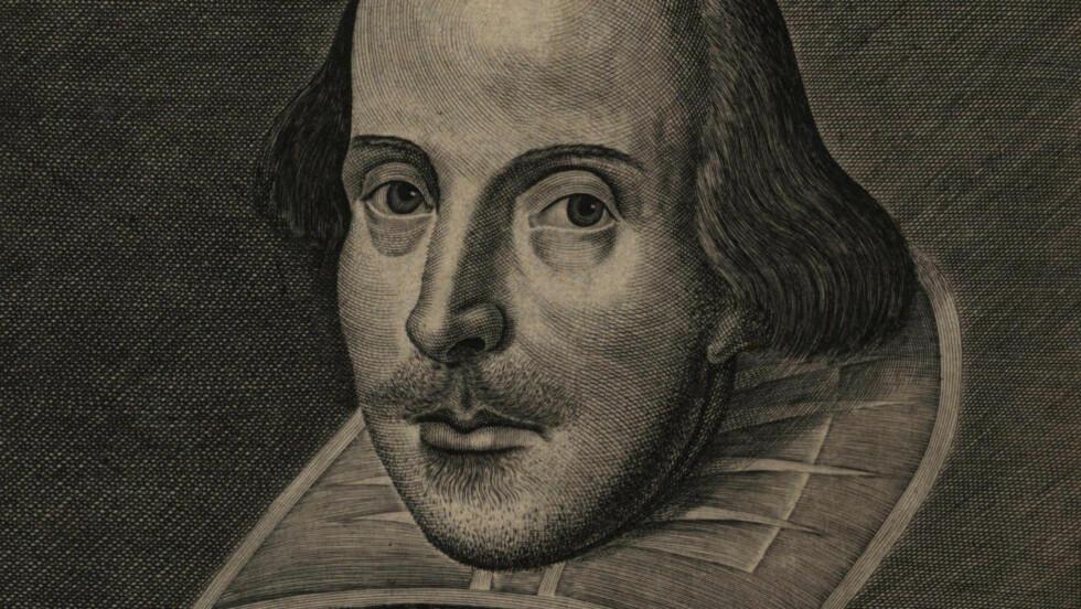 WILLIAM SHAKESPEARE: Portrett fra den første folioutgaven av skuespillene hans fra 1623, syv år etter at han døde. Foto: Scanpix.