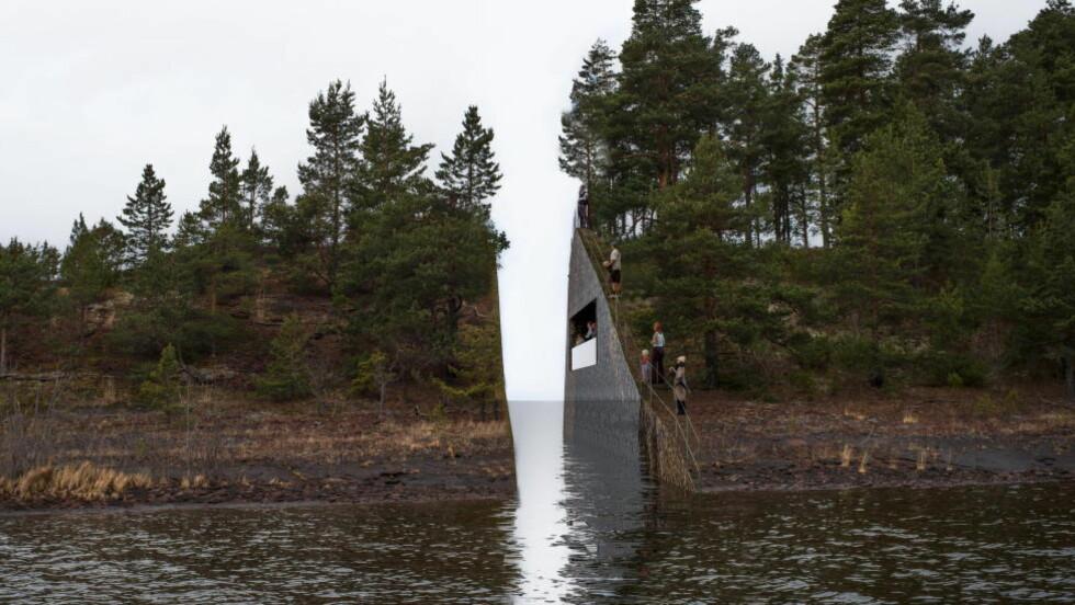 UTKASTET: Den svenske kuntneren Jonas Dahlberg ser for seg et arr i landskapet til minne om 22. juli på Sørbråten ved Utvika.  Foto: Jonas Dahlberg Studio / NTB Scanpix