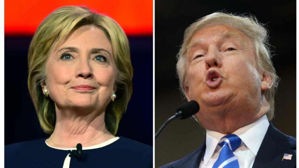 FÅR OPPMERKSOMHET. En voksende Bernie Sanders-kampanje opplevde mer eller mindre stillhet fra media før jul. Han hadde 1/6 av tv-tiden til Hillary Clinton (til venstre), og enda mindre sammenligna med Donald Trump (til høyre), skriver artikkelforfatteren.Foto: AFP / NTB Scanpix