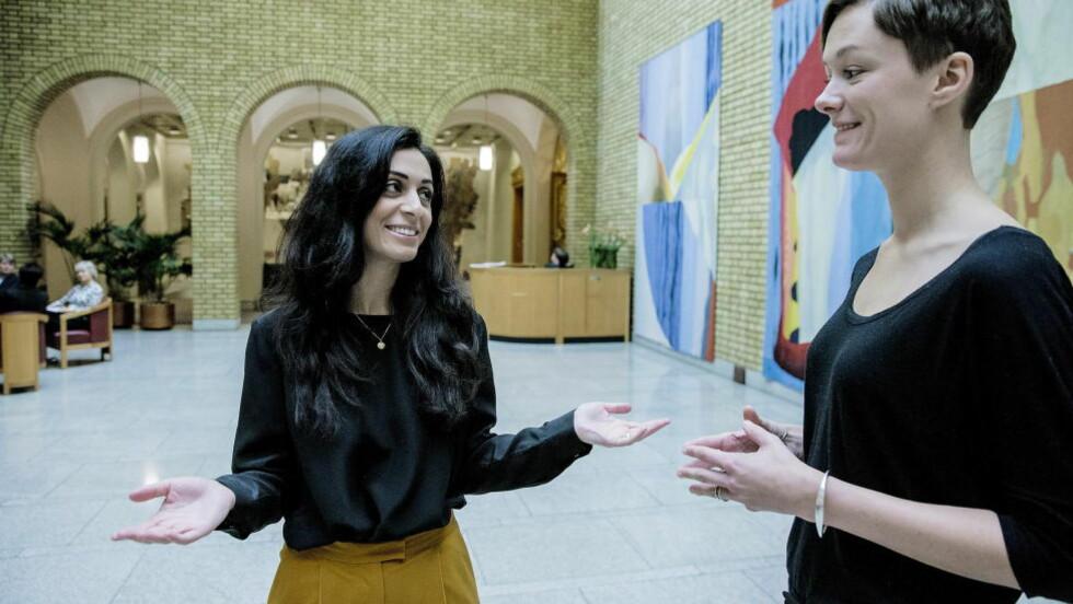PROGRESSIV: Hadia Tajik, her med Anette Trettebergstuen, varsler arveavgiftens gjenkomst.  Foto: Bjørn Langsem / Dagbladet  .