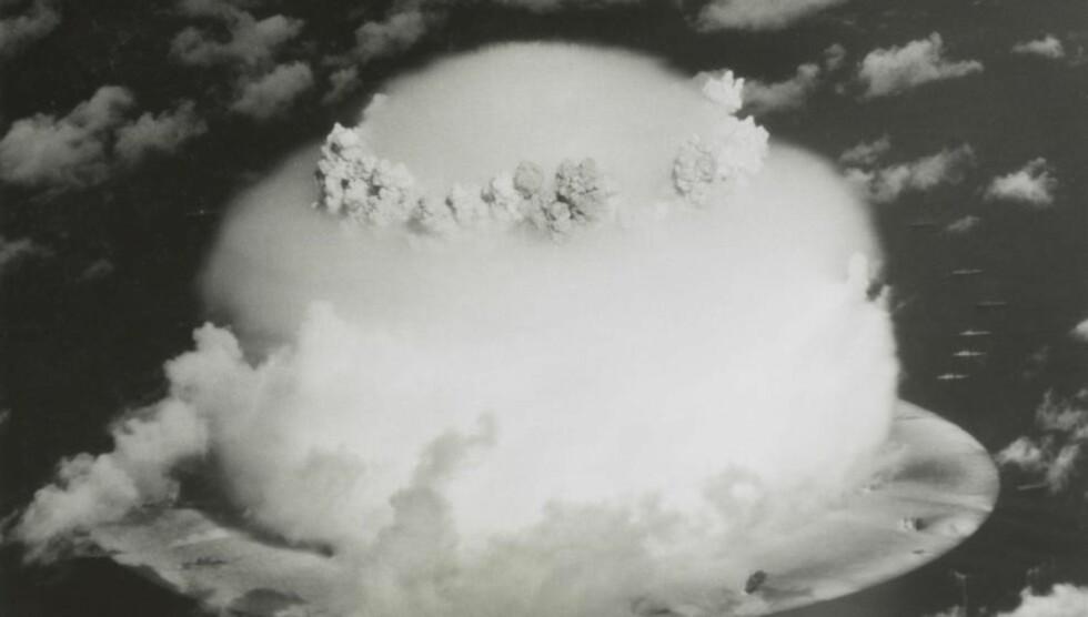Operation Crossroads atombombe-test, fra 1946 i Bikini-Atollen.  Foto: Science Photo Library / NTB Scanpix