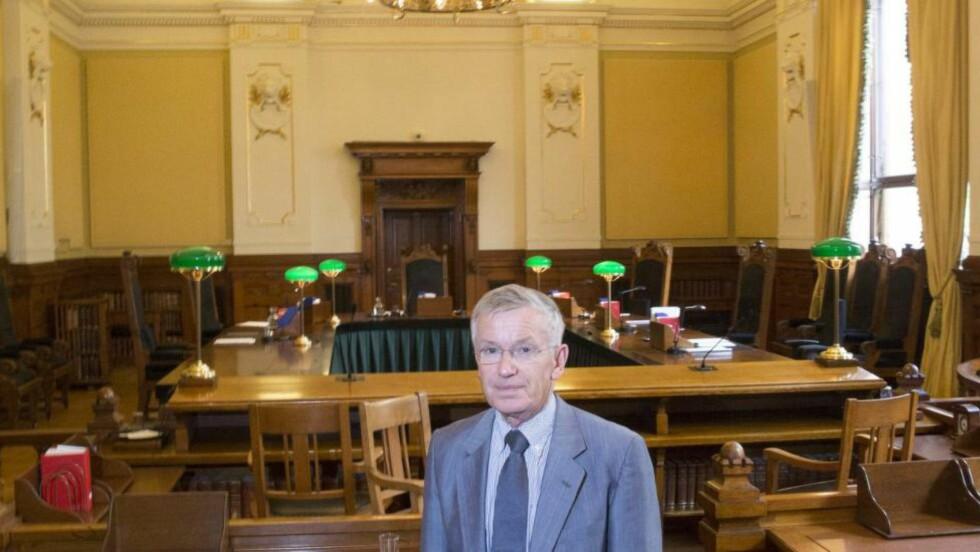 LEDIG STILLING: Høyesterettsjustitiarius Tore Schei går av og skal få en etterfølger. Her er han i forbindelse med Høyestretts 200- års jubileum. Foto: Terje Bendiksby / NTB Scanpix