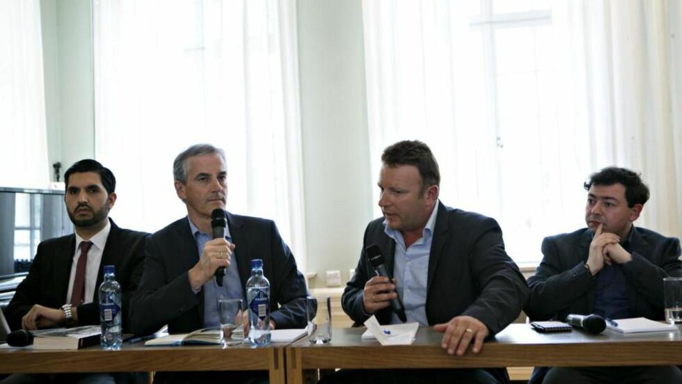 UOPPGJORT: Jonas Gahr Støre og Vebjørn Selbekk i en debatt fra 2014. Foto: NTB SCANPIX