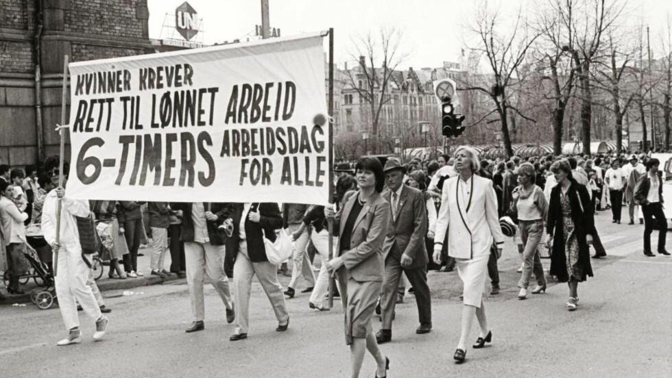 GAMMEL KAMP, GAMLE KRAV: Likestillingsloven ble vedtatt i 1978, men ikke alle krav er blitt innfridd. Bildet er fra en demonstrasjon på Karl Johans gate i Oslo i 1984. Foto: Ole A Buenget / Samfoto / NTB Scanpix