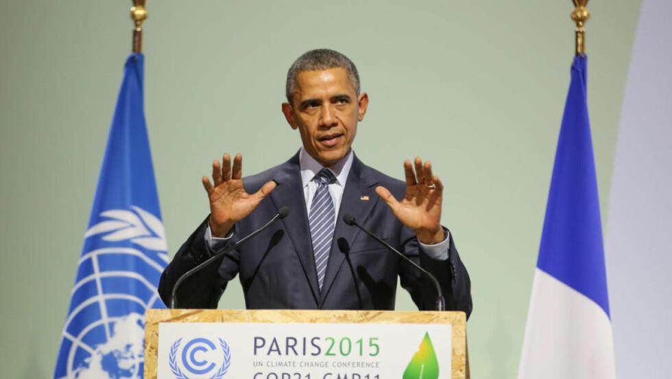 USAs president Barack Obama holder tale under åpningen av Paris-toppmøtet. Foto: ENB/IISD, http://www.iisd.ca.