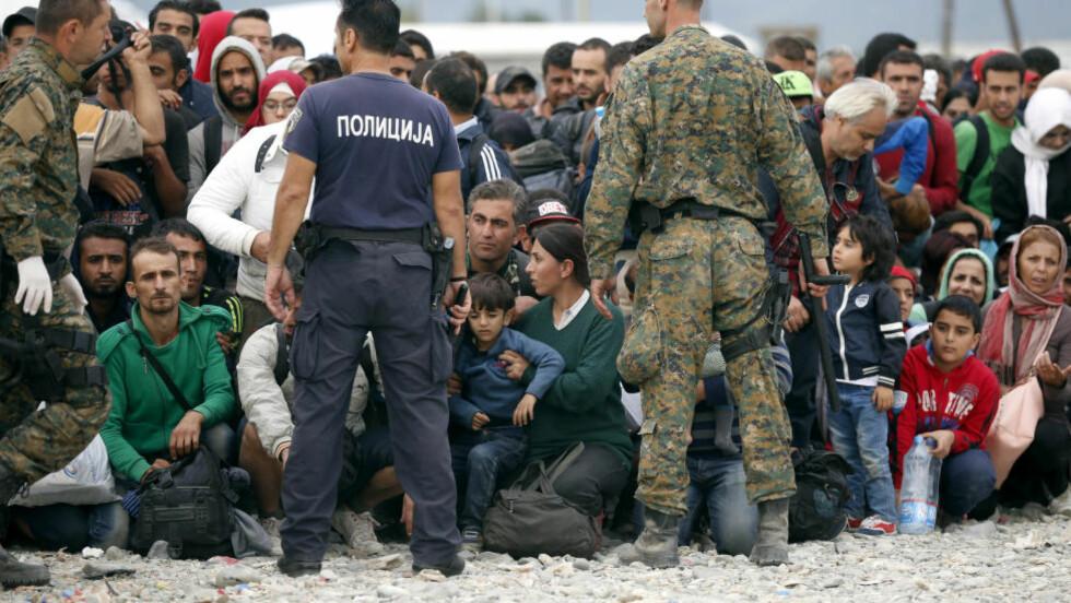DYSTRE UTSIKTER: Flyktninger, de fleste fra Syria, venter på transport i Gevgelija i Makedonia, for å reise gjennom Europa. Foto: REUTERS/Stoyan Nenov/Scanpix