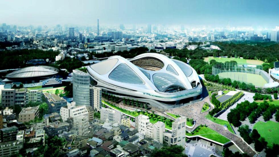 SYKKELHJELM: Zaha Hadids OL-stadion i Tokyo, slik det skulle se ut etter modifiseringer for å senke kostnadene. Borte var det skyvbare taket og den bølgende, elegante profilen var blitt mer kantete. Foto: JAPAN SPORT COUNCIL / EPA / NTB SCANPIX