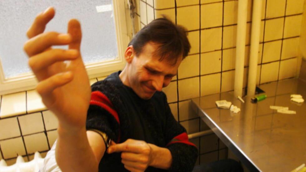Sprøyterommet i Oslo er 10 år i 2015. Ordningen kunne vært bedre, mener Arild Knudsen og Ina Roll Spinnangr. Bildet viser et sprøyterom i Frankfurt. Foto: Jon Terje Hansen