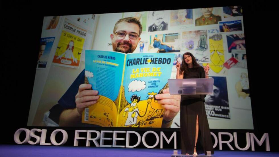 FREEDOM FORUM: Zineb El Rhazoui om Charlie hebdo på på Oslo Freedom Forum.  Foto: NTB/Scanpix
