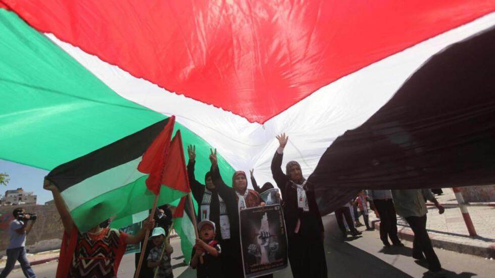 GAZA: Demonstrasjon på gazastripen i mai i år, på 67årsdagen for opprettelsen av staten Israel.   Foto: Ashraf Amra / Zuma Press