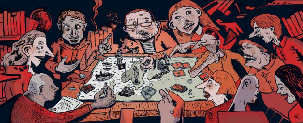 RETORISKE POENG: Krigen er og blir et skattkammer for retoriske poenger, både i kommentarfeltene og elfenbenstårnene. Illustrasjon: Flu HArtberg