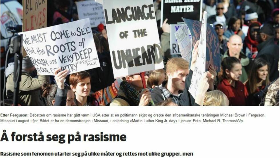 DÅRLIG FORSTÅELSE: Døvings rasismedefinisjon er altfor bred, mener artikkelforaftteren. Faksimile Dagbladet.no 18.2.2015.