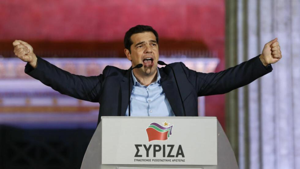 Alexis Tsipras  og det venstreradikale partiet Syriza vant et historisk seier i Hellas i natt.     Foto: REUTERS