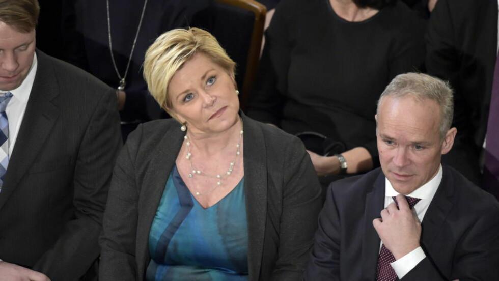 DUSTEPOLITIKK:  Siv Jensen leder et parti som gikk til valg på å avskaffe dustepolitikk. Ved nærmere ettertanke var ikke det så lurt. Foto: Hans Arne Vedlog  / Dagbladet