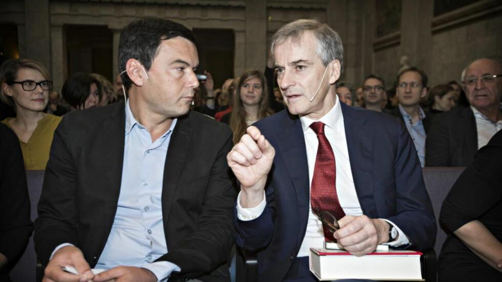GOD DIALOG:  Ap-leder Jonas Gahr Støre er en av mange Thomas Piketty-fans. Her fra Piketty-foredrage i Universitetets Aula i regi av tankesmien Agenda. Foto : Hans Arne Vedlog  / Dagbladet