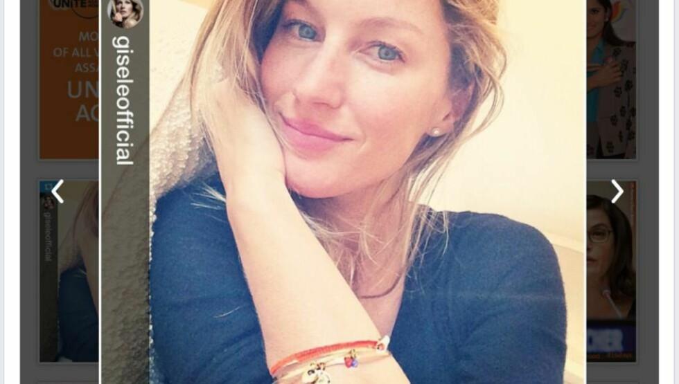VOLD MOT KVINNER:  Supermodell Gisele Bundchen med et oransje armbånd solgt til inntekt for FN-kampanjen mot vold mot kvinner.
