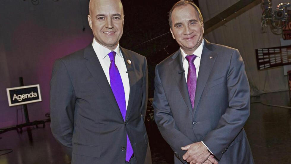 De svenske statsministerkandidatene Fredrik Reinfeldt (til venstre) og Stefan Löfven (til høyre). Foto: JONAS EKSTRÖMERNTB scanpix