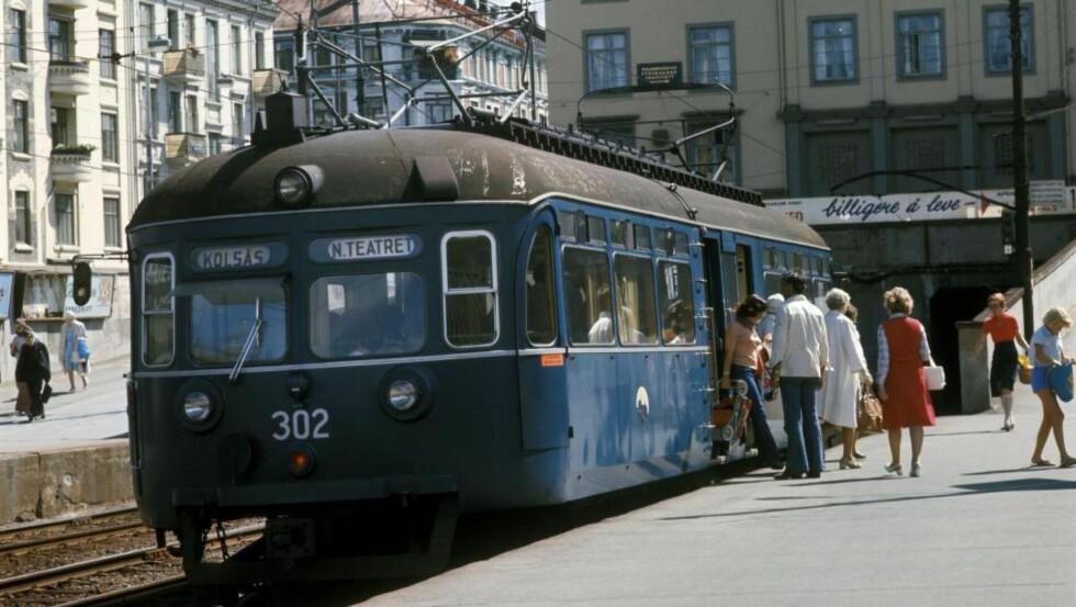 SUKSESSKRITERIET: Fortetting langs tog, trikk og t-bane er den opplagte formelen for å møte befolkningsveksten i storbyene. Her en vogn fra Kolsåsbanen, på Majorstuen T-banestasjon i juli 1976.