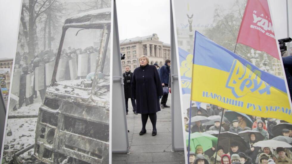 ETT ÅR ETTER:  Erna Solberg besøker Maidan i Kiev. Her la hun ned blomster for å minner de som døde under opptøyene i Kiev. Foto: Tomm W. Christiansen / Dagbladet