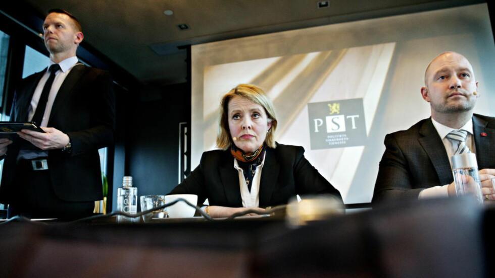 TRUSSELBILDE:  PST har lagt fram etatens åpne vurdering av mulige trusler i 2014. PST-sjef Benedicte Bjørnland opplyste at terrortrusselbildet i forhold til Norge beskrives som skjerpet.  Foto: Nina Hansen / DAGBLADET