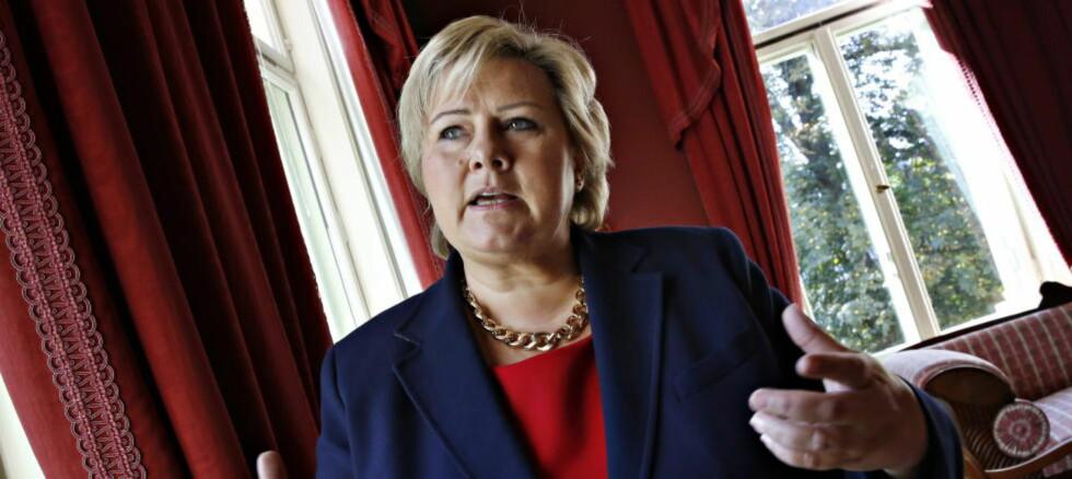 MOTVIND: Erna Solberg i representasjonssenteret etter et møte med LO og NHO mfl. Foto: Jacques Hvistendahl / Dagbladet