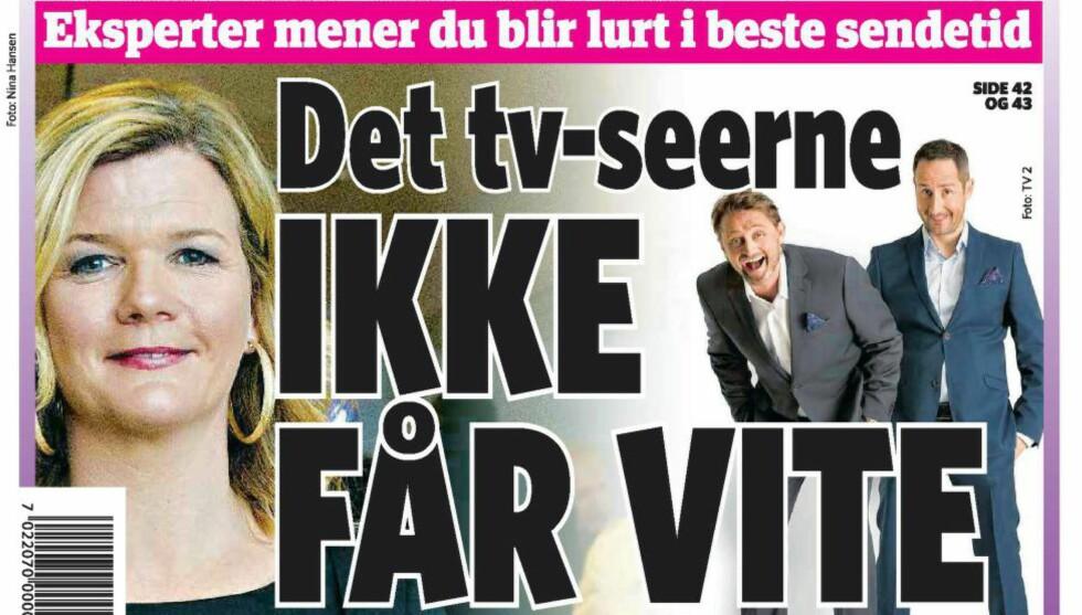 ETISK FORSVARLIG? I Dagbladet fredag kritiserte en rekke eksperter i presseetikk de store talkshow-vertene for å intervjue svært gode venner. Faksimile.
