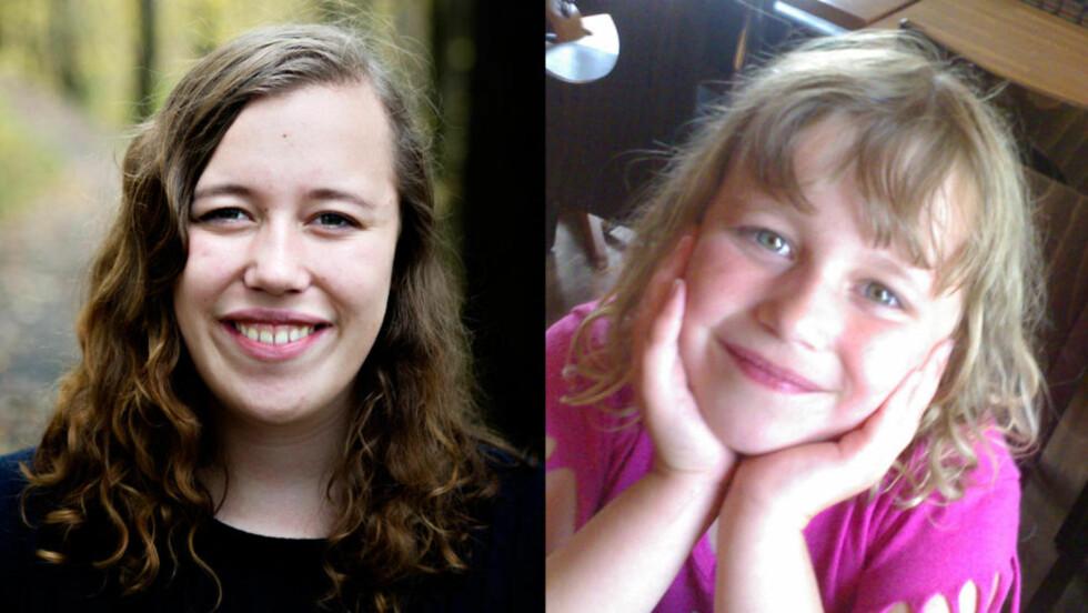 DA OG NÅ: Allerede som seksåring ble Henriette Oudmayer Simonsen mobbet for kroppen sin. Åtte år seinere vil hun velge å elske den som den er. Foto: Privat og Nina Hansen