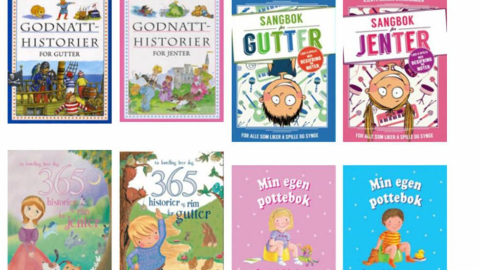 ROSA ELLER BLÅ? Sangbøkene for gutter og jenter tilhører en trend som er spesielt synlig i den mest kommersielle delen av bokmarkedet.