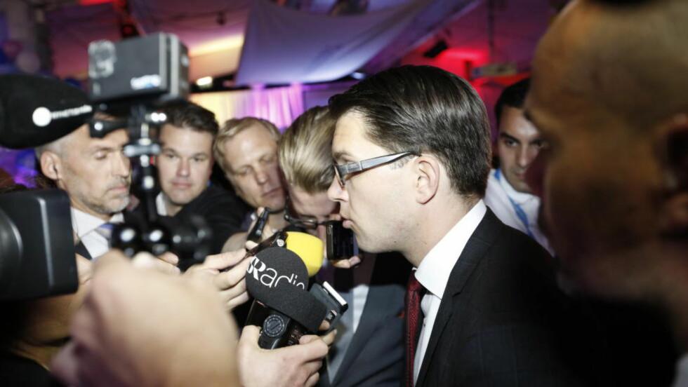 Jimmie Åkesson på Sverigedemokratenes valgvake i 2014. Partiet gjorde et historisk godt valg. Foto: Anita Arntzen