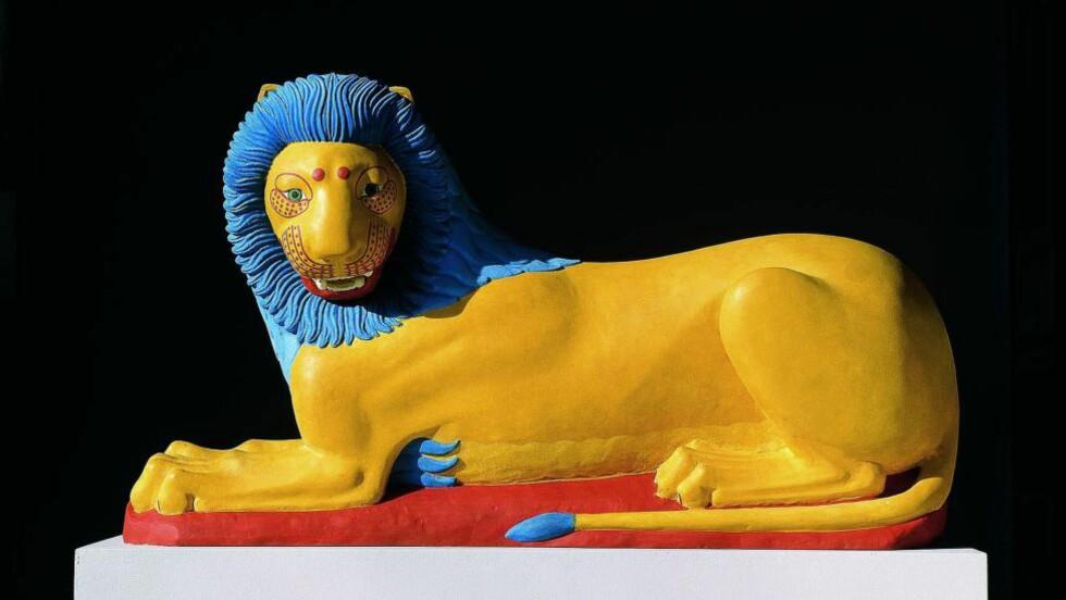 FARGERIKT:  Løve fra Luotraki i Hellas, ca. 570-569 f.v.t., rekonstruksjon fra 2003. Foto: Ny Carlsberg Glyptotek