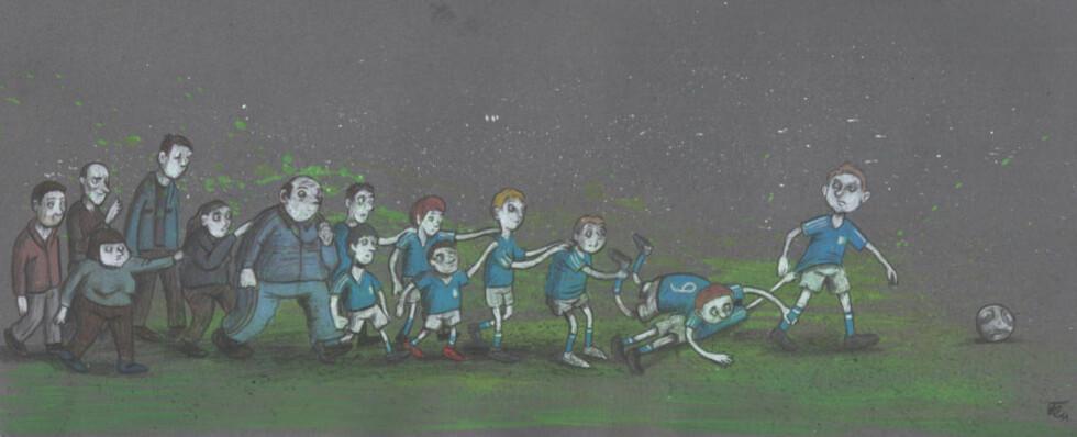 OPPSKRIFT PÅ FRUSTRASJON: Fotball er sosialt viktig, og alle som vil, skal med. Dermed havner fotballgale Ola og Per som er med for moroa og vennenes skyld, på samme lag fordi de går i samme skoleklasse. Det er en oppskrift på frustrasjon. Illustrasjon: Flu Hartberg