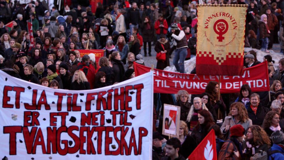 FOR KVINNER: Hvem sin feminisme er det egentlig Kvinnefronten diskuterer? spør artikkelforfatteren. Foto: Håkon Mosvold Larsen / SCANPIX .