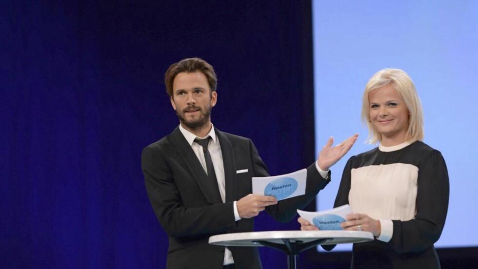 MANGFOLD?  Hvorfor løper NRK etter de andre? spør Bull. Kåre Magnus Bergh og Ingrid Gjessing presenterte tv høsten nylig.