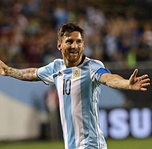<strong>2016:</strong> Messi i aksjon for Argentina. Foto: Jonathan Daniel/Getty Images/AFP