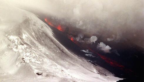 <strong>RØDGLØDENDE LAVA:</strong> En sky av aske og damp sto høyt i været, og rødglødende lava fløt nedover fjellsiden, etter at Islands berømte vulkan Hekla hadde sitt første alvorlige utbrudd på mange år i 2000. Foto: Sigurgeir Jonasson, Nordfoto/NTB Scanpix