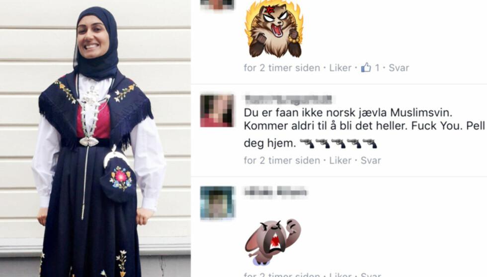 UTSATT FOR RASISME: Sahfana M. Alis bilde av sin Frafjord-bunad, med spesialsydd hijab, har utløst et skred av hatmeldinger. Bunadseksperter påpeker at det er tradisjon med skaut til norske bunader. Foto: Privat