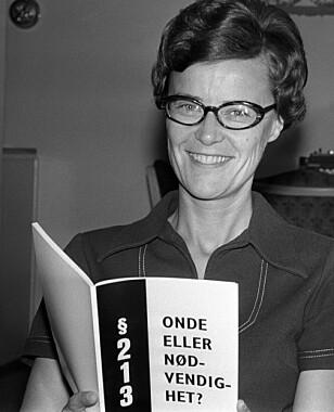 <strong>STRAFFBART:</strong> &lt;/b&gt; Kim Friele bidro sterkt til å avskaffe straffelovsparagrafen 213, som kriminaliserte homofile. Dette bildet er tatt i 1971, året før loven ble opphevet. Foto: Vidar Knai / NTB / Scanpix