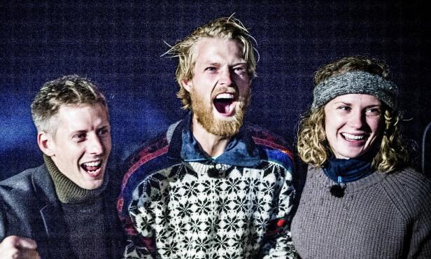 HAR HYTTA: Eilev Bjerkerud gikk helt til topps i 2015. Her med programleder Gaute Grøtta Grav og meddeltaker Marte Søreide, som kom på andreplass. Foto: Thomas Rasmus Skaug / Dagbladet