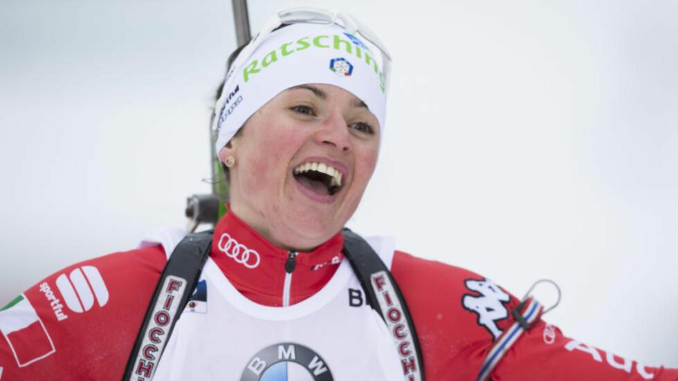 VANT: Sammen med Ole Einar Bjørndalen vant Karin Oberhofer den uvanlige mixed-stafetten i Russland. Foto: Berit Roald / NTB scanpix
