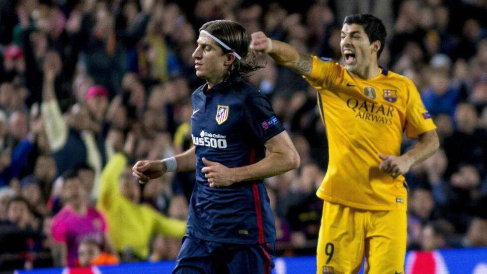 FORSKJELLSBEHANDLING: Atletico Madrids Filipe Luis mener Barcelona blir særbehandlet av UEFA. Foto:  Albert Llop / Anadolu Agency