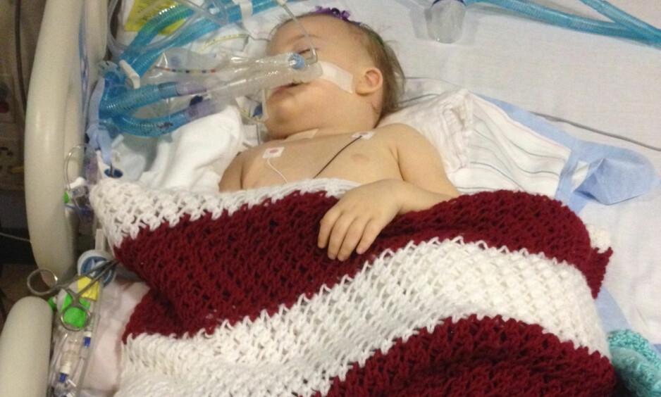 I KOMA: Sykehuset mener Mirranda Grace Lawson er hjernedød. Familien mener hun er i bedring, og kjemper for at hun fortsatt skal få behandling. Foto: Patrick Lawson / AP / NTB scanpix
