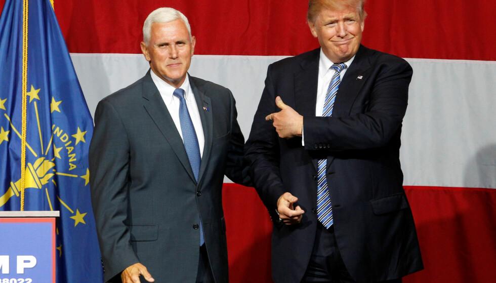 DÅRLIG STEMNING: Mike Pence er uvanlig krass mot Donald Trump i sin uttalelse om Trumps kvinnesyn. Foto: Reuters / NTB scanpix