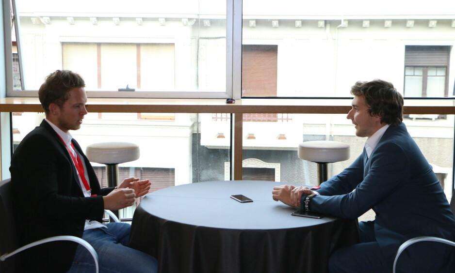 <strong>FORETREKKER MOSKVA:</strong> Tittelutfordrer Sergej Karjakin forteller om den kommende VM-kampen mot Magnus Carlsen under et eksklusivt møte med Dagbladet i Bilbao. Foto: Maria Emelianova/Dagbladet