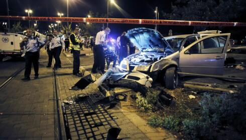 JERUSALEM 2014: En baby ble drept og åtte skadd da en bil braste inn i fotgjengere.  Foto: Reuters / NTB Scanpix