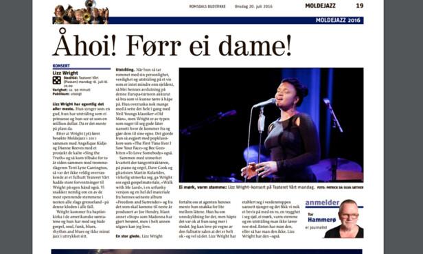 «ÅHOI!»: Tor Hammerø ga artisten Liz Wright terningkast fem og skrev at hun «synger som en gud, har utstråling som en prinsesse og ser ut som en million dollar». Tidligere på kvelden var det han som ønsket henne velkommen til scenen. Foto: Faksimile