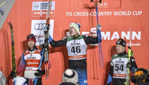 <strong>USIKKER:</strong> Sami Jauhojärvi (t.h.) er usikker på hvem han skal tro på i saken om Martin Johnsrud Sundby (t.h.). Foto: Anders Wiklund / TT&nbsp;