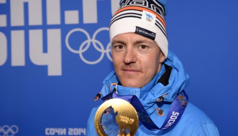 Finnish cross-country skier Sami Jauhojärvi received his gold medal of men's team sprint in Sochi during the Sochi 2014 Winter Olympics on 20th Feb., 2014. LEHTIKUVA / Antti Aimo-Koivisto *** FINLAND OUT. NO THIRD PARTY SALES. ***