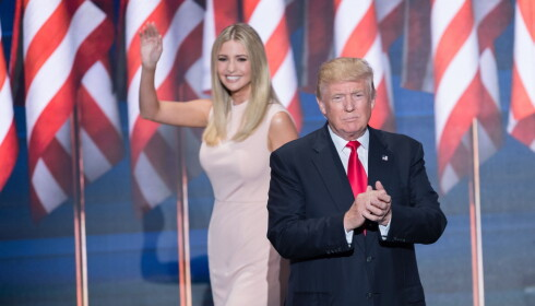 DATTER OG FAR: Forrige uke var det Ivanka Trump som introduserte far Donalds tale til Republikanernes landsmøte. Foto: NTB scanpix